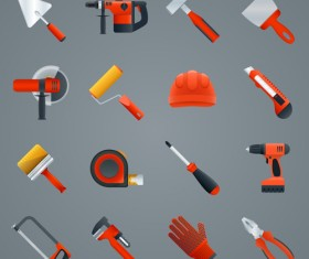 Red working tools icons vectors