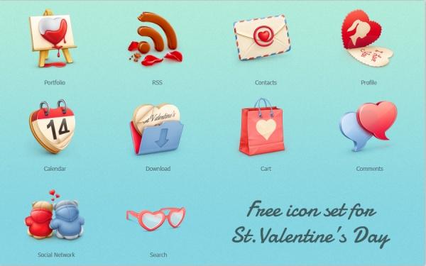 Romantic Valentine Day free icons