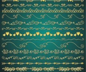 Romantic golden borders vectors material 01