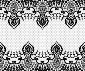 Seamless black lace borders vectors 01