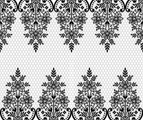 Seamless black lace borders vectors 02