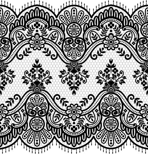 Seamless black lace borders vectors 03 - Vector Frames & Borders ...