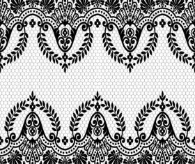 Seamless black lace borders vectors 04