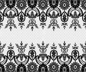 Seamless black lace borders vectors 05