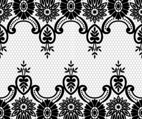 Seamless black lace borders vectors 06