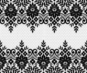 Seamless black lace borders vectors 07