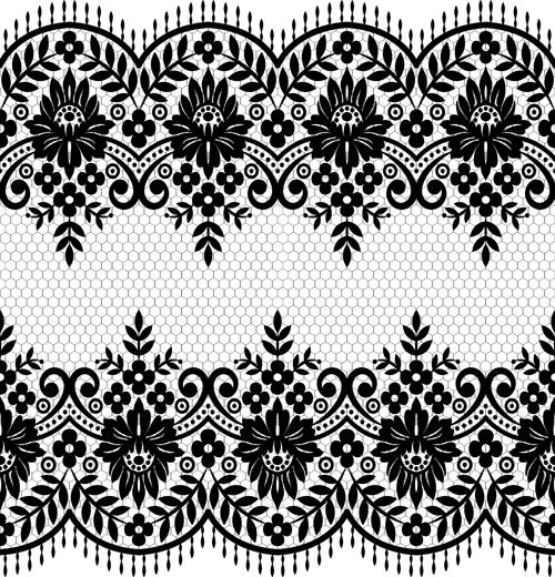 Seamless black lace borders vectors 07 - Vector Frames ...