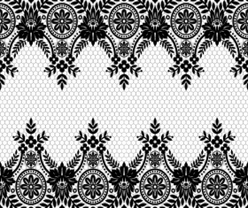 Seamless black lace borders vectors 08