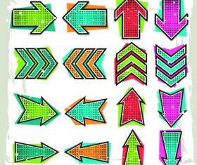 Set of modern arrows design vector material 06