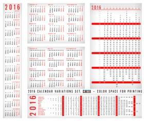 Simple 2016 grid calendar vector