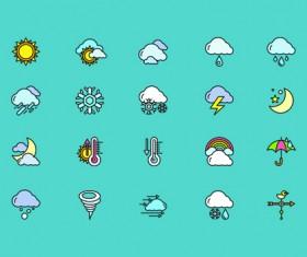 Social cute mini icons vector set 02