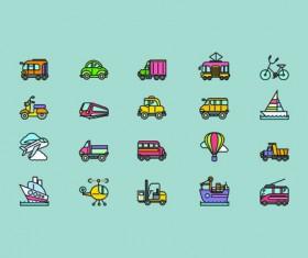 Social cute mini icons vector set 03