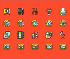 Social cute mini icons vector set 04