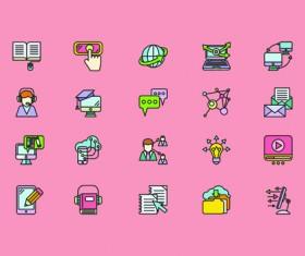 Social cute mini icons vector set 05
