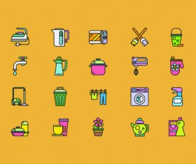 Social cute mini icons vector set 06