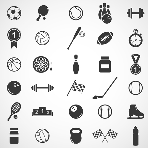 Sports icons creative vectors set 03