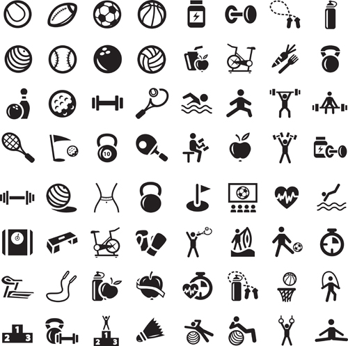 Sports icons creative vectors set 04