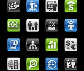 Square business planning series icons vector 02