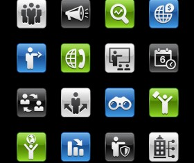 Square business planning series icons vector 03