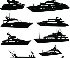 Steamship with yacht silhouette vector