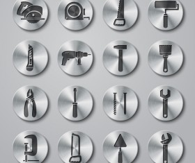 Tools metal icons button vector