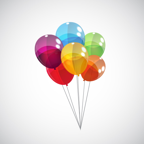 Transparent Colored Balloons Vector Background 06 Vector