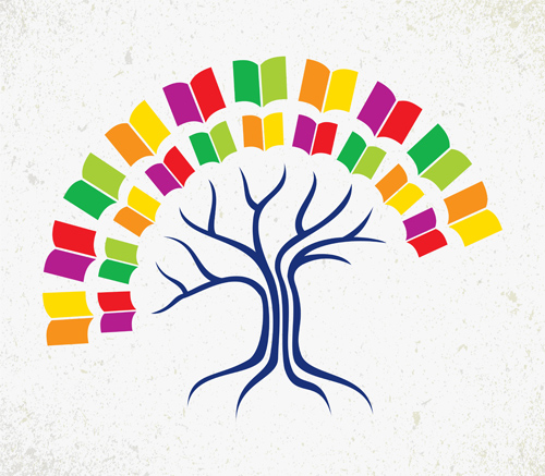 Tree with book creative vector 01