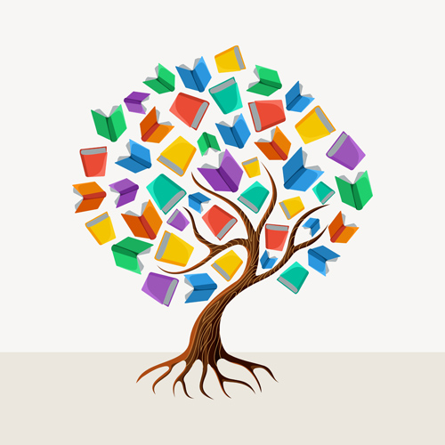 Tree with book creative vector 02