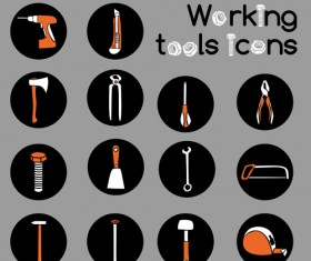 Vector working tools icons material 01