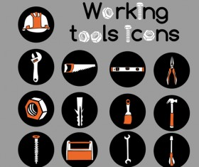 Vector working tools icons material 02