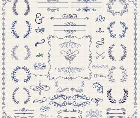 Vintage hand drawn swirls ornaments with corner vector 03