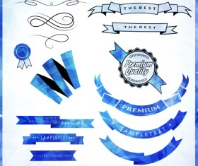 Vintage ribbon with quality Label vector material 01
