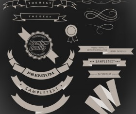 Vintage ribbon with quality Label vector material 10