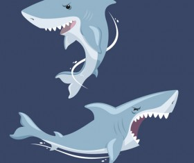 Vivid shark design vectors set 02