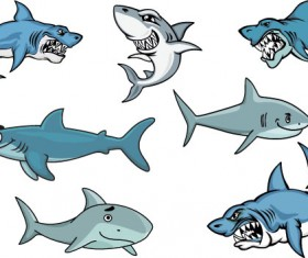 Vivid shark design vectors set 03