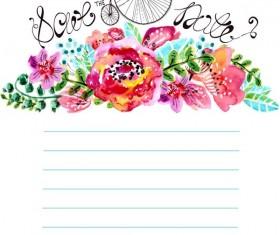 Watercolor floral decorations notebook vector
