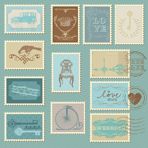 wedding with love postage stamps vintage vector 03