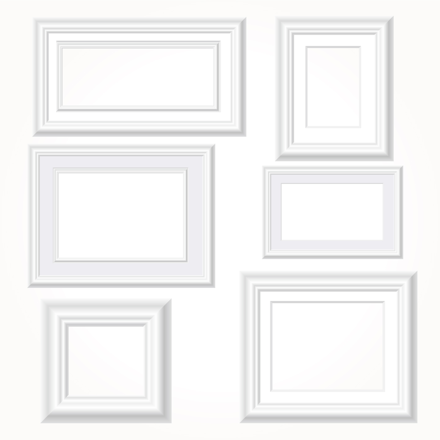 White photo frames vector set - Vector Frames & Borders free download