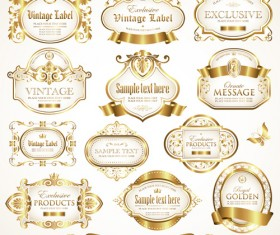 White with golden framed labels vector set