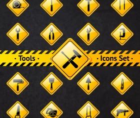 Yellow shining tools icons vector