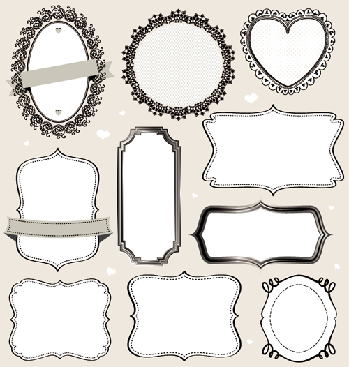Retro outlined frames vector | free download.
