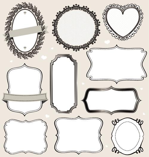 vintage labels frames vectors 02