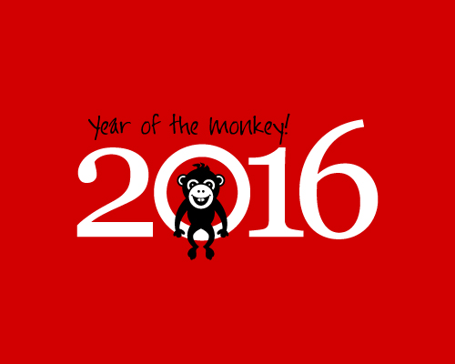年賀状 2015年年賀状素材 : 2016 Free Year of the Monkey