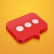 3d red chat psd icon