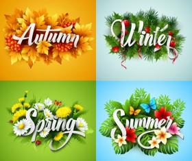 4 seasons beautiful flower labels vector 01