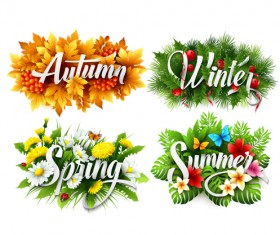 4 seasons beautiful flower labels vector 02