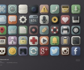 40 Kind APP icons vintage psd material