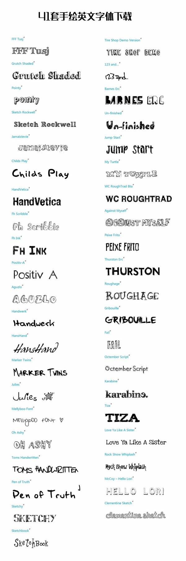 41 Kind hand drawn Font