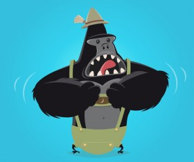 Amusing gorilla cartoon styles vector 01