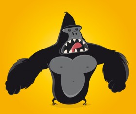 Amusing gorilla cartoon styles vector 03
